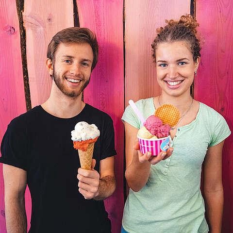 Eisverkäufer vanille & marille Eismanufaktur