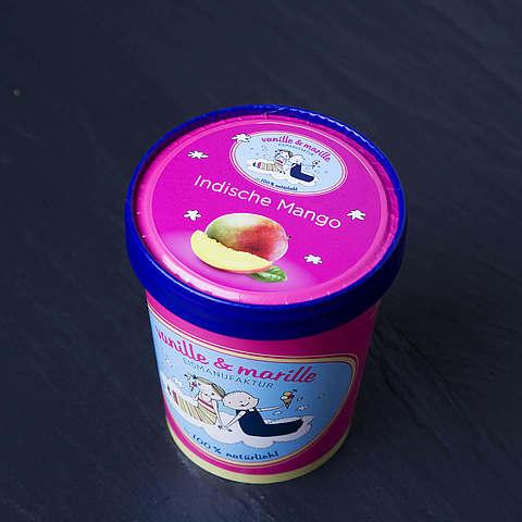 Eis aus Berlin: Zuhause-Becher Indische Mango, vanille & marille