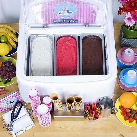 Eis-Catering: 3er-Tischvitrine vanille & marille