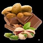 Mandel mit Schokolade und Pistazie